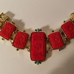Vintage Faux Coral Turquoise Goldtone Bracelet